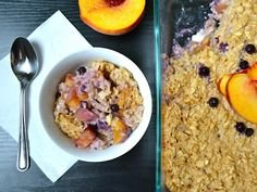 Peach and Blueberry Baked Oatmeal. Only $0.52/serving! Yum!