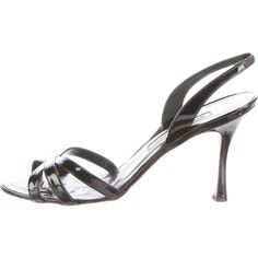Pre-owned Manolo Blahnik Patent Leather Slingback Sandals ($95) ❤ liked on Polyvore featuring shoes, sandals, black patent leather shoes, black ankle strap sandals, black slingback sandals, ankle tie sandals and black slingback shoes