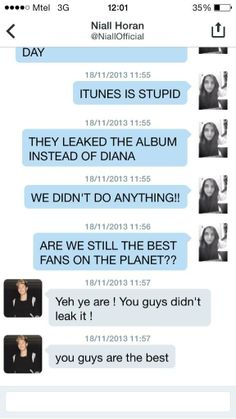Niall's reply to a fan's DM about 'Midnight Memories' being leaked! Awhh hes such a sweetheart :)