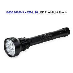 (166.00$)  Know more  - 5pcs High Light 18650 26650 9 x CREE XM-L T6 LED Torch LED Camping Flashlight 11000 Lumens Waterproof 5 Modes