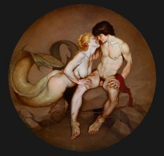 Salmacea e Ermafrodito I by Roberto Ferri   #TheMermaidsNet #mermaids