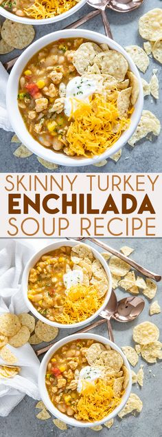 Skinny Turkey Enchilada Soup is an easy and flavorful soup that's packed full of flavor! This simple, healthy, soup is a great way to use ground turkey! soup Skinny Enchilada Turkey Soup - The Salty Marshmallow Healthy Soup Recipes, Crockpot Recipes, Crockpot Ground Turkey Recipes, Easy Recipes, Simple Ground Turkey Recipe, Chicken Recipes, Heathy Soup, Advocare Recipes, Cleanse Recipes