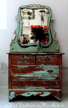 Lovely Shabby Cottage Farmhouse Dresser Cheval by StiltskinStudios, $575.00