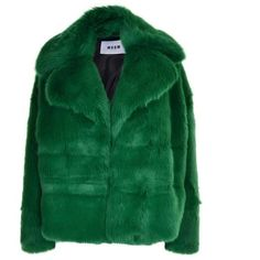 Msgm Faux Fur Jacket (3.160 RON) ❤ liked on Polyvore featuring outerwear, jackets, green, green jacket, msgm jacket, fake fur jacket, faux fur jacket and long sleeve jacket