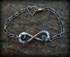 Infinity birthstone bracelet, name bracelet, personalized jewelry. $78.00, via Etsy.