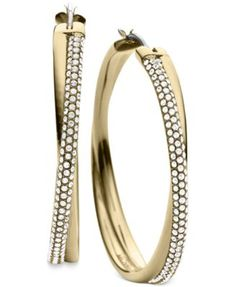 Michael Kors Clear Pavé Crisscross Hoop Earrings  $95