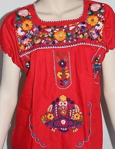 4e55cafbfa950 Womans peasant handmade embroidered mexican blouses assorted colors and  sizes e