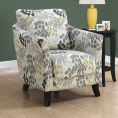 Leafy silhouettes span the Monarch Specialties Floral Accent Chair , adding natural appeal to its contemporary form. Sleek armrests wrap around the. Floral Accent Chair, Floral Chair, Accent Chairs, Floral Fabric, Steel Furniture, Ikea Furniture, Rustic Furniture, Living Room Chairs, Dining Chairs