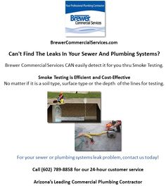 Brewer Commercial Services: Odor Control with Smoke Testing Smoke Testing, Types Of Soil, Plumbing, Commercial, Surface, Link, Bathroom Fixtures