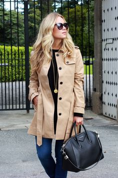 Trench Coat with Givenchy Bag.