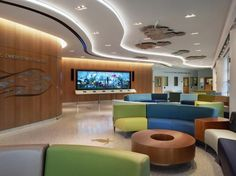 The ED lobby of the Cohen Children's Medical Center of New York features an interactive media display, where young patients can create a per...