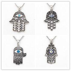 Turkish Silver Hamsa Hand Evil Eye Pendant Necklace Evil Eye Style Jewelry