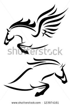 black and white vector outlines of jumping horse and pegasus by Cattallina, via ShutterStock