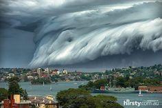 Ominous storms arrival at Sydney Harbor, Australia.