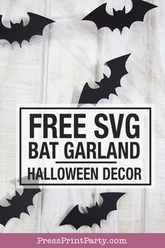 Create a fun bat garland with your cutting machine for Halloween. Fun Halloween decorations to make. Use some black cardstock. Halloween Decorations To Make, Diy Halloween Decorations, Holidays Halloween, Craft Decorations, Halloween Diy, Diy Halloween Garland, Bat Craft, Svg File, Levitation Photography