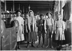 Spinners and doffers in Lancaster Cotton Mills.Dozens of them in this mill. Lancaster, S.C, Lewis Wickes Hine, photographer. From the series: National Child Labor Committee Photographs taken by Lewis Hine Lancaster, Lewis Wickes Hine, Belle Epoque, Fotografia Social, Cotton Mill, King Cotton, New Fine Arts, Wisconsin, Documentary Photographers