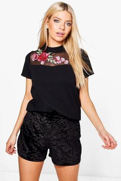 Ellie Embroidered Mesh Scuba Top