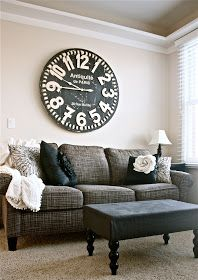 I love the idea of a tweed couch. And I love the clock!