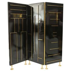 Lacquer & Brass Divider by Eugenio Escudero | From a unique collection of antique and modern screens at http://www.1stdibs.com/furniture/more-furniture-collectibles/screens/