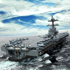 The advanced Ford-class carriers have a larger flight deck which allows for more aircraft missions. An increased sortie rate and the ability to launch and recover 25 percent more flight missions a. New Aircraft, Military Aircraft, Gerald Ford Aircraft Carrier, Uss Ford, Navy Carriers, Us Navy Ships, Naval History, Navy Military, Flight Deck