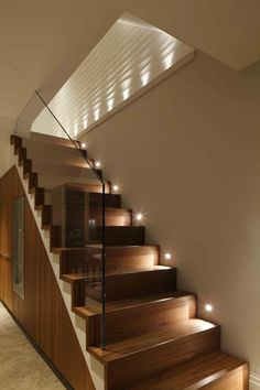 Your modern hallway staircase design, staircase lighting ideas, stairway li Open Staircase, Wooden Staircases, Staircase Design, Staircase Landing, Stair Design, Staircase Lighting Ideas, Stairway Lighting, Home Lighting Design, Under Staircase Ideas