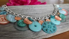 Turquoise and Coral Button Necklace by LoveButtonDesigns on Etsy, $15.00
