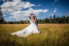 Best wedding photography, award winning photography team, photography on your wedding day. Weddings in Ireland, Destination weddings, bride and groom in a field. Wedding dress.