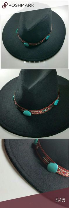 """New Southwestern Boho Hat Band If you are like me and enjoy changing up your hats by switching the hat band, then this handmade """"funkie"""" is for YOU! It slips right onto your hat and measures approximately 24"""". This band has a lovely tribal/southwestern design with 5 faux turquoise stones. *hat not included* Nepantla Shop Accessories"""