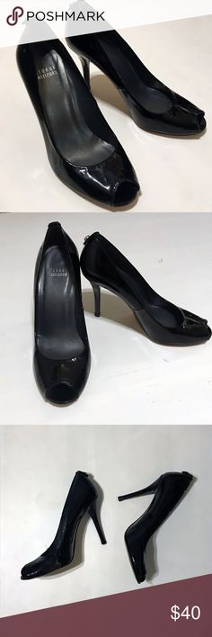 """Stuart Weitzman Black Patent Leather Peeptoe Heels Black Patent Leather Peep Toe Pumps from Stuart Weitzman, Logo stud at back, 4 1/2"""" Heel height; Patent leather upper/leather lining/leather sole, Made in Spain, Style name for these pumps is """"Logo Flame"""".  Damage note: Overall they are in good condition. Heels have damage to the stud flap - see last photo, resin/glue mark and leather are slightly scuffed. Stuart Weitzman Shoes"""