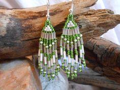 Beautiful Hand Beaded Earrings Green and by FaerieTeaAndTreasure, $17.00