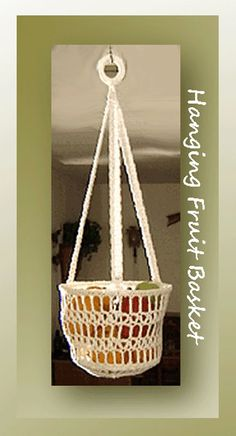 Hanging Fruit Basket, free crochet pattern on Crochet Memories Blog