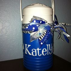 "i usually don't add ribbon to the body of the jugs i do (just to the handles),  but i really like this for a ""name only"" jug."
