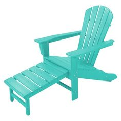 Polywood® Palm Coast Adirondack Chair With Pull Out Ottoman - Aruba