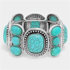 """Turqouise Statement Stretch Bracelet NWT - Silver with large turquoise stretchable bracelet 1.25"""" H PRICE IS FIRM UNLESS BUNDLED - 15% OFF BUNDLES OF TWO OR MORE Jewelry Bracelets"""