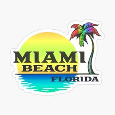 Florida Palm Trees, Cool Stickers, Decorate Notebook, Miami Beach, Decals, Tropical, Sunset, Printed, Awesome