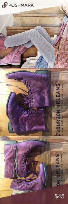 Steve Madden troopas 8 Never worn outside the house. A couple of green dot-sized marks inside (not visible when on). Color is a distressed purple, please note there's distressing at front and back, faded color is not from wear. Steve Madden Shoes Lace Up Boots