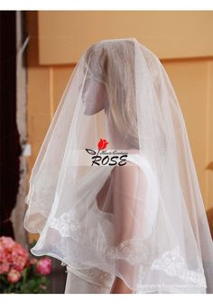 Wedding Veil One Layer Tulle Bridal Veil Curved Lace Edge No Comb Style BV020 - Wedding Veil