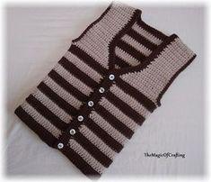 Easy Toddler Vest - fast to crochet. All Free Crochet, Crochet For Boys, Easy Crochet, Toddler Vest, Kids Vest, Gilet Crochet, Crochet Beanie, Crochet Cardigan, Crochet Vest Pattern