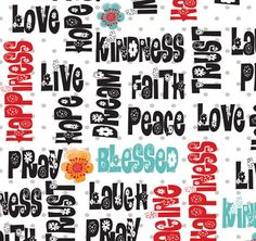 Religious Fabric QT Love, Hope, Pray words 5457