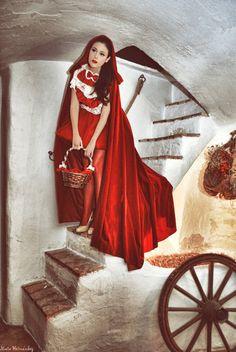 Red Ridding Hood Cape Cloak in red velvet