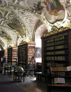 Beautiful Libraries and Bookshops...Strahov Monastery Library, Prague, Czech Republic, photo by Bob Marquart, LostBob via Flickr.