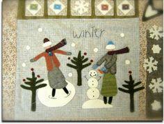 Primitive Quilts, Primitive Crafts, Primitive Patterns, Wool Applique Patterns, Applique Quilts, Felt Patterns, Wool Mats, Wooly Bully, Snowman Quilt