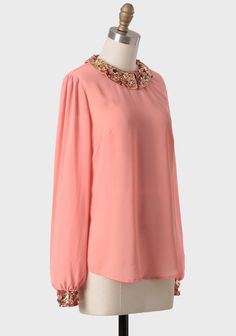 Beautiful sequined collar blouse