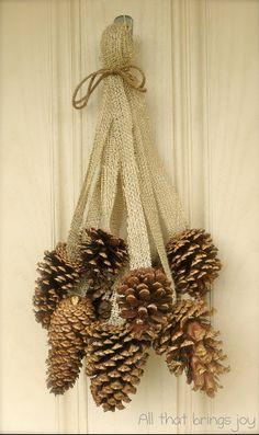 61 Ideas For Diy Christmas Decorations Wreaths Pine Cones Rustic Christmas, Christmas Holidays, Christmas Wreaths, Christmas Ornaments, Christmas Pine Cones, Winter Wreaths, Xmas Trees, Christmas Ribbon, Spring Wreaths
