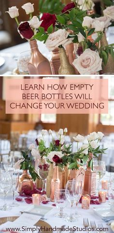 Use this EASY trick to decorate your wedding centerpieces on a budget! Use this EASY trick to decorate your wedding centerpieces on a budget! The post Use this EASY trick to decorate your wedding centerpieces on a budget! Bottle Centerpieces, Wedding Table Centerpieces, Wedding Favors, Gown Wedding, Centerpiece Ideas, Wedding Invitations, Wedding Cakes, Lace Wedding, Centerpiece Flowers