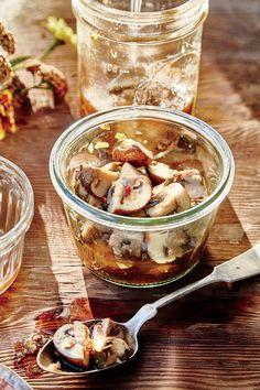August 2016 Recipes: Pickled Cremini Mushrooms