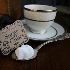 Molded skull sugar cubes. Great for drab days -- $10 from Dem Bones on Etsy.
