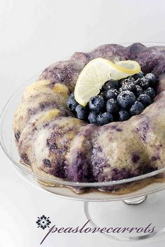 Blueberry Lemon Bundt Cake - recipe includes a boxed cake mix, fresh or frozen blueberries, and yogurt.