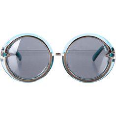 Pre-owned Karen Walker Oversize Round Sunglasses ($145) ❤ liked on Polyvore featuring accessories, eyewear, sunglasses, blue, blue round sunglasses, oversized round sunglasses, blue sunglasses, karen walker and karen walker glasses