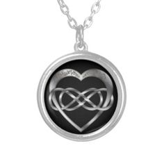 Double Infinity Silver Heart 2 - Necklace